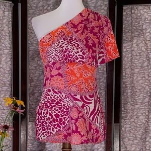 Cache orange and pink jungle designed top.